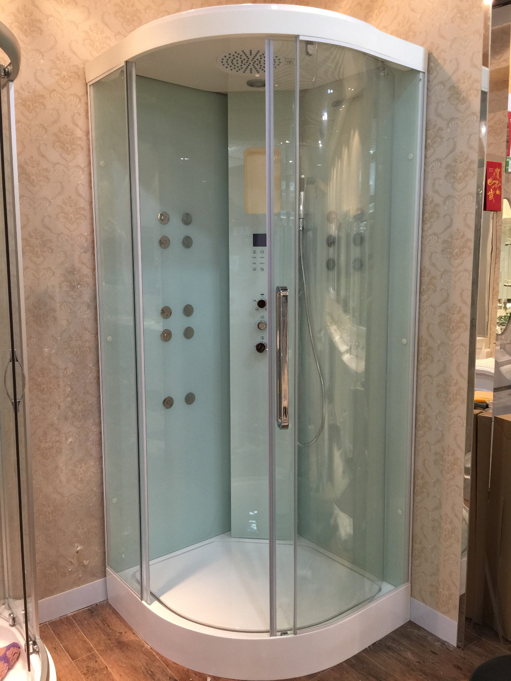 Ocean Shipping Wall Corner Sliding Door Steam Shower Enclosure Solid Surface Stone Tray 900*900*2200mm 8055(China (Mainland))