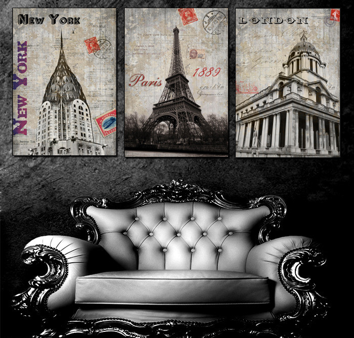 3 Panels Canvas Old Europe Church Painting On Canvas Wall Art Picture Home Decor THR057(China (Mainland))