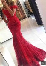Robe De Soiree Mermaid red Evening Dress appliques formal Celebrity Dresses off the shoulder beaded evening gowns on sale(China (Mainland))