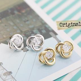 Korean hot jewelry small elegant flash CZ diamond twist lines earrings Free Shipping EM89