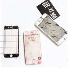 10pcs/lot Fashion Marble Grain Shatter Proof Tempered Glass Film Front Screen Protect Decal for iphone6/6s Plus Body Protection