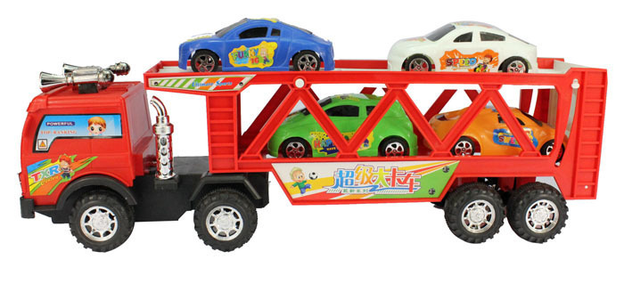 5pcs Combination of super inertia big trucks double 43 cm long trailer large toys for children truck safe toys car for children(China (Mainland))