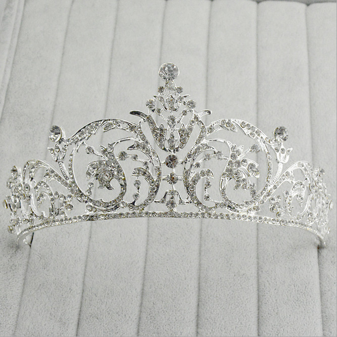 2015 High Quality Hollow Rhinestone Flower Crown Crystal Tiara Bridal Hair Accessories Bride Headband Silver Plated Hair Jewelry(China (Mainland))