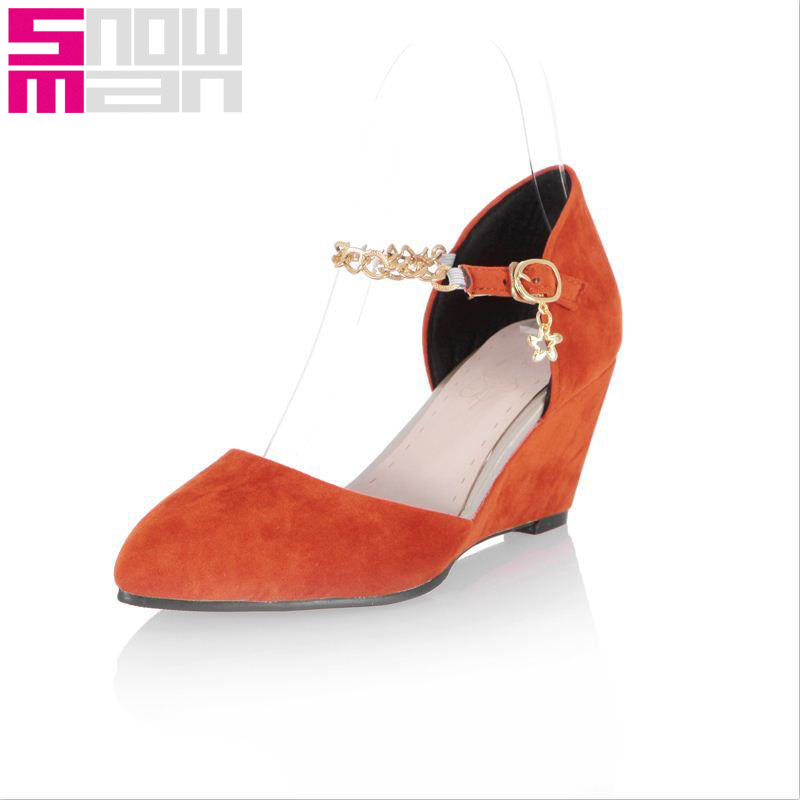 2016 Ankle Strap Women Pumps Metal Chains Charm Buckle Summer Pumps Wedges Med Heels Shoes Woman Pointed Toe Retro Women Shoes