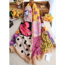 Spring and Winter women soft cotton scarf with cute cartoon printing mix colors good quality and fashion design scarves(China (Mainland))