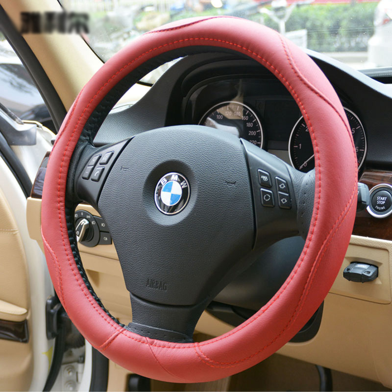 Yle Car Auto Steering Wheel Cover Microfiber leather Diameter 15 inch 38CM - Red(China (Mainland))