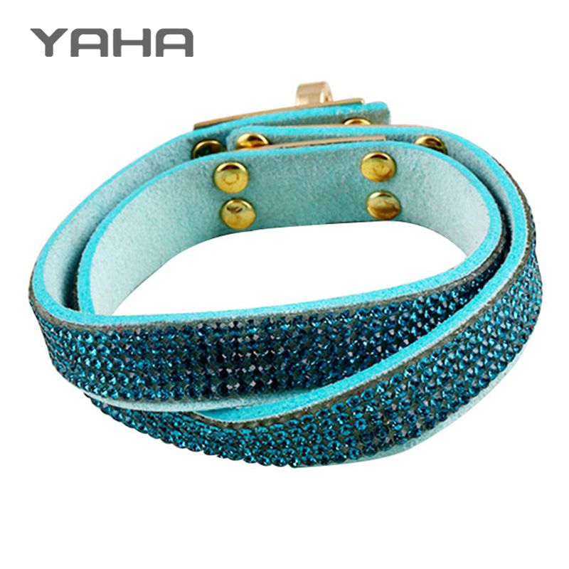 Yaha 2016 New Bohemian Bracelets for Women Leather Wrap Wristband Cuff Punk Crystal Rhinestone Bracelet Bangle pulseras mujer(China (Mainland))