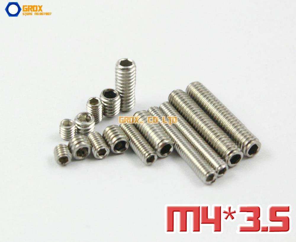 200 Pieces M4 x 3.5mm  304 Stainless Steel Grub Screws Cup Point Hex Socket Set Screw<br><br>Aliexpress