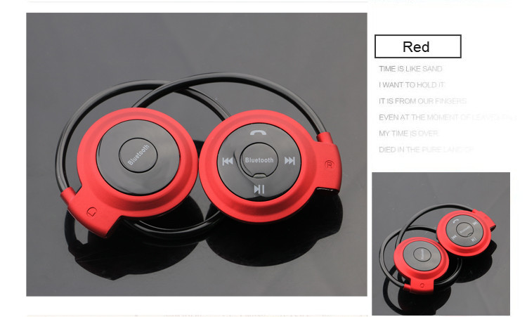 Mini 503 Neckband Wireless Bluetooth Earphone Handsfree With MIC Sport Stereo Headset Earphones Support TF Card for Mp3 Player