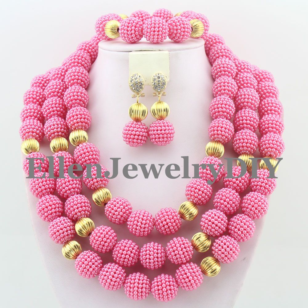 new hot pink nigerian costume jewelry set big african