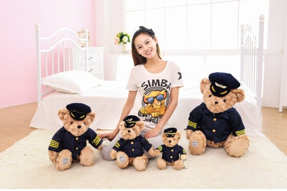 New Design Dressed Captain Teddy Bear Stuffed Plush Toy Valentine Birthday Gift 25cm Piece(China (Mainland))