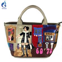 Gamystye 2016 Women Handbags Messenger Bags Embroidered girl Handbags fashion Sweet 6070 bazaar Tote flowers cat PU bags(China (Mainland))