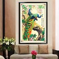 Peacock Embroidery Painting Rhinestone Canvas 5D Round Diamond DIY Peacock Cross Stitch Home Decoration Craft