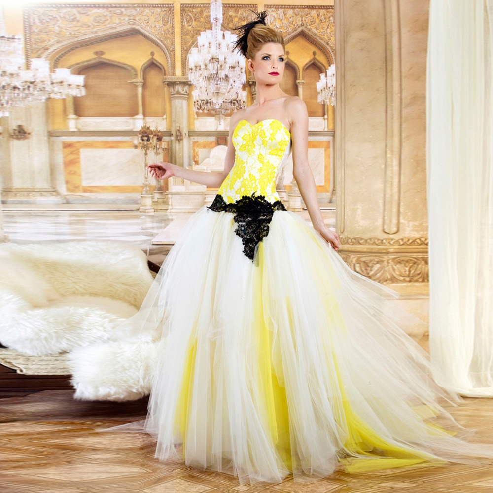 Yellow Wedding Gowns: Aliexpress.com : Buy Strapless Sweetheart Ball Gown Lace