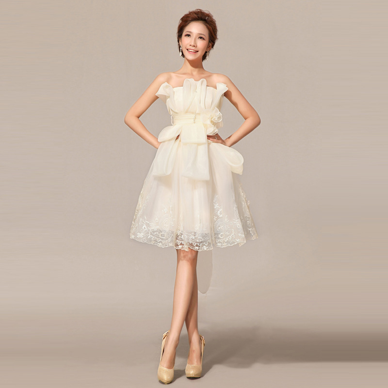 Factory direct supply 2016 new bridesmaid champagne short for Short champagne wedding dress