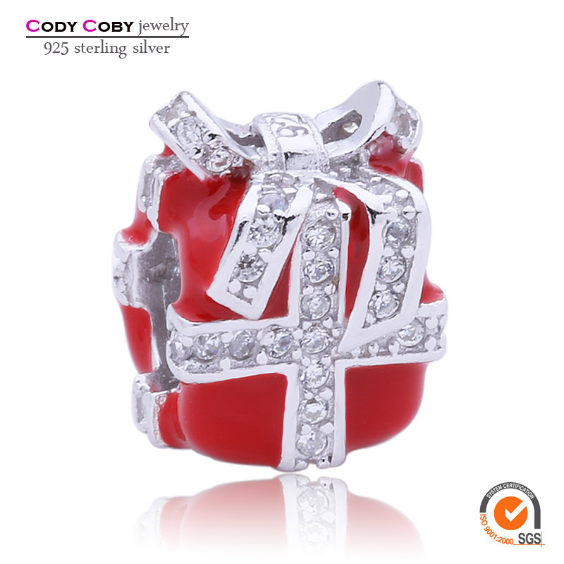 New 925 Sterling Silver All Wrapped Up Charm Beads Fit Pandora Bracelet For Euro 2016 France Charms with CZ & Red Enamel Jewelry(China (Mainland))