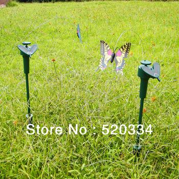 2014 New Wholesale 10 pcs/lot Solar Power Dancing Flying Fluttering Butterflies Garden Yard Decor,Funny Kids Toy Free shipping