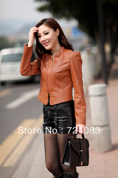 2014 spring and autumn short design slim water wash women's motorcycle leather clothing plus size outerwear PU