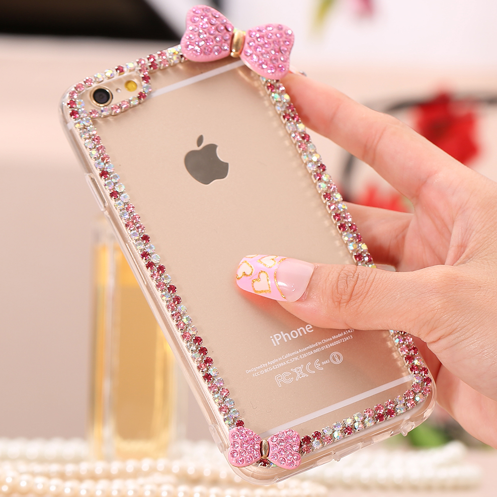 Diamond Cases! Butterfly Bow Bling Rhinestone Case For Apple iPhone 6 4.7 / Plus 5.5 Cute Accessories Transparent Clear Cover(China (Mainland))