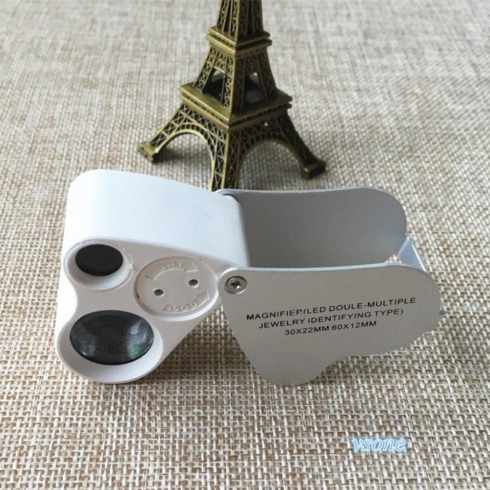 Здесь можно купить  30X 22mm  60X 12mm double lens  Mini Jewelry Tools Diamond Triplet Loupe Portable Eye Magnifier Stamps Silver Pocket Microscope  Инструменты