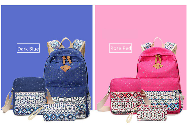 3 pcs vintage school bags for girls kids bag canvas backpack women bagpack children backpacks dot shoulder bags blue pencil case