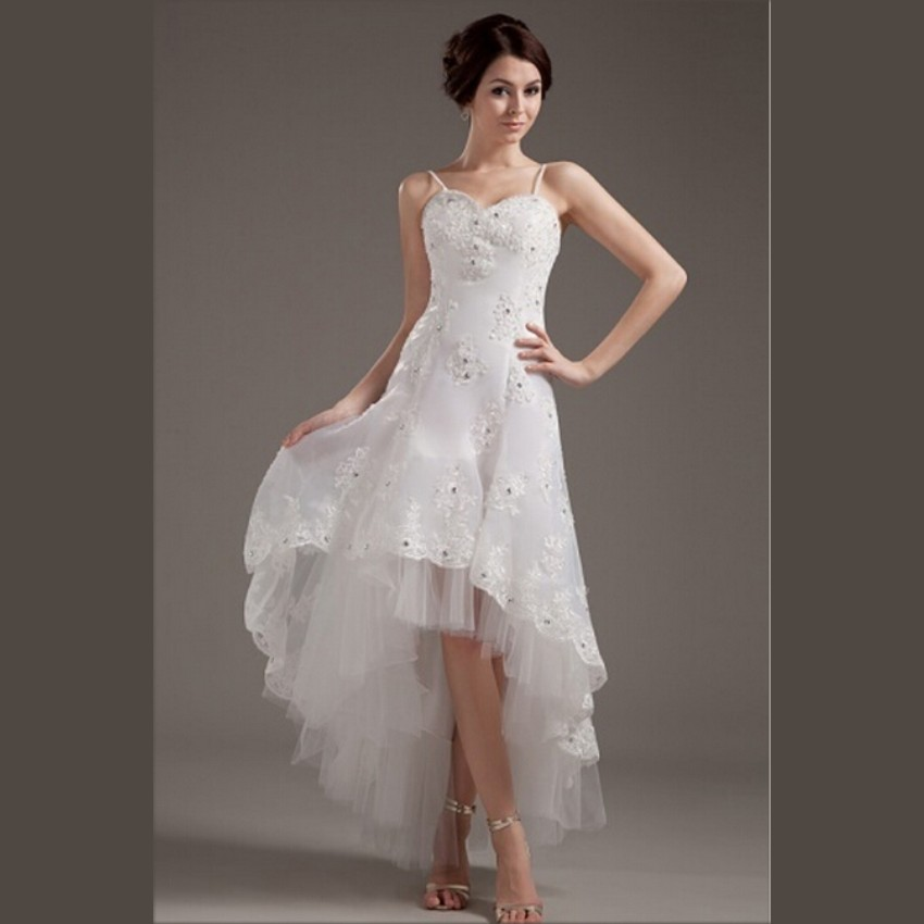 Buy 2015 new white lace hi lo wedding for Hi lo wedding dress