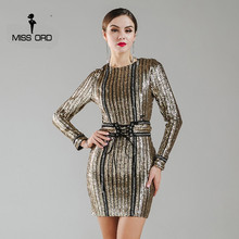 Missord 2017 Sexy O-neck long sleeve sequin belt rope dress FT4935(China (Mainland))
