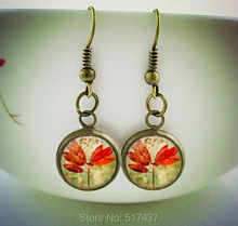 1 pair Red Leaf Earrings  Glass Art Earrings in Vintage Copper Photo  glass dome dangle earrings for women(China (Mainland))
