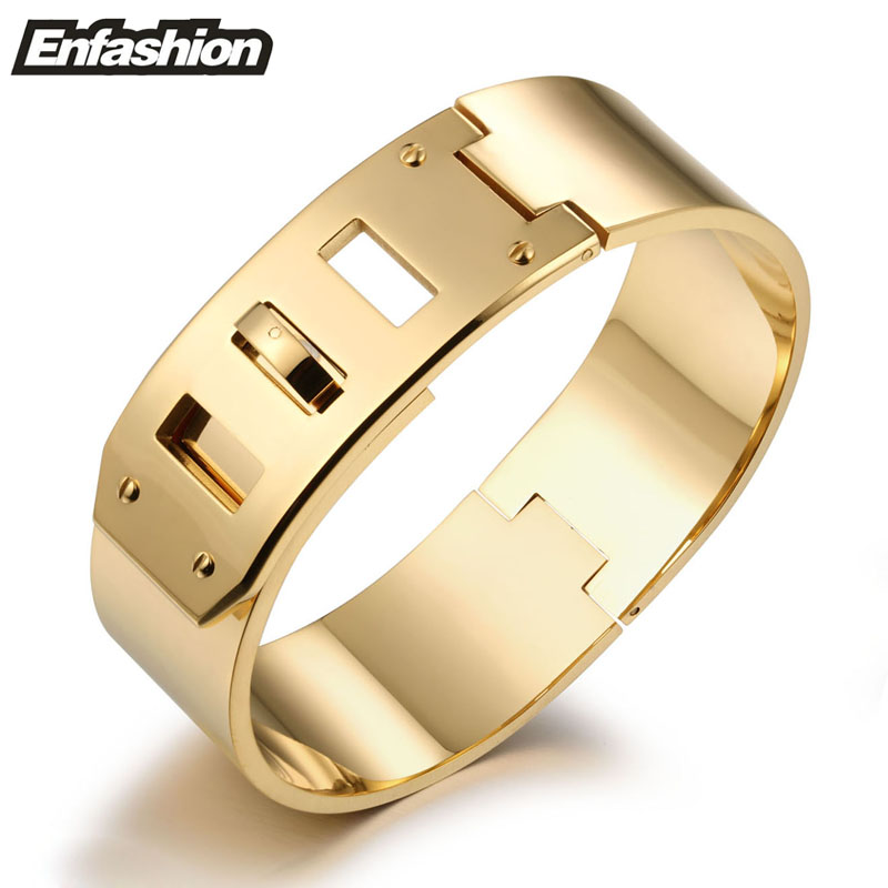 Enfashion Jewelry Punk Wide Belt Buckle Cuff Bracelet Gold Plated Stainless Steel Bangles Bracelets Women bracelet Pulseiras - ENFASHION JEWELRY CO.,LTD store