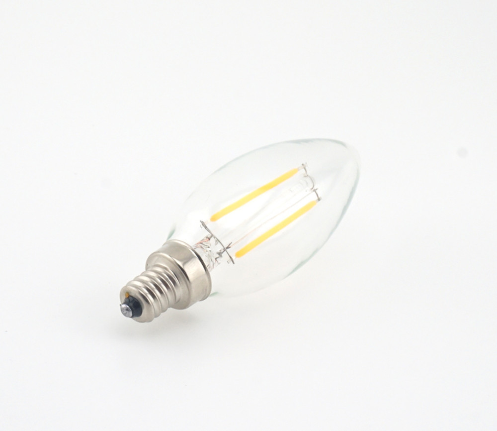 Dimmable 2w 4w Led E14 Filament Bulb Candelabra Light 220v European Base Led Torpedo Shaped