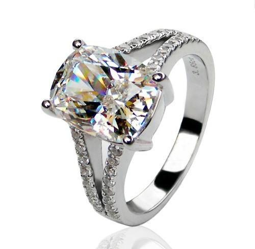 engagement white gold 385ct synthetic diamond ring cushion paved designer genuine 14karat gold jewelry 14k gold wedding ring