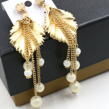 Metallic Pearl leaf necklace pendant vintage pendant necklace + earrings    907(China (Mainland))