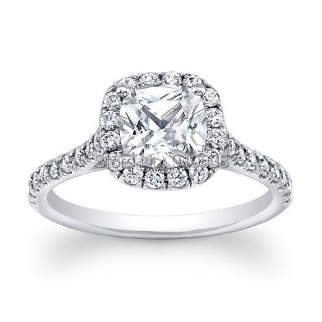 Brilliant Round Cut 2 Carat Simulated Diamond Halo Engagement Rings Real 9K W