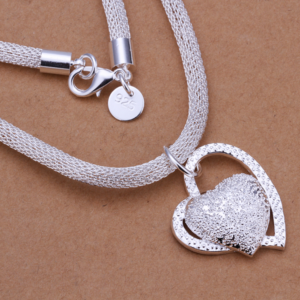 Wholesale Free Shipping 925 Silver Necklaces,925 Silver Fashion Jewelry Inlaid Stone Heart Necklace SMTN270(China (Mainland))