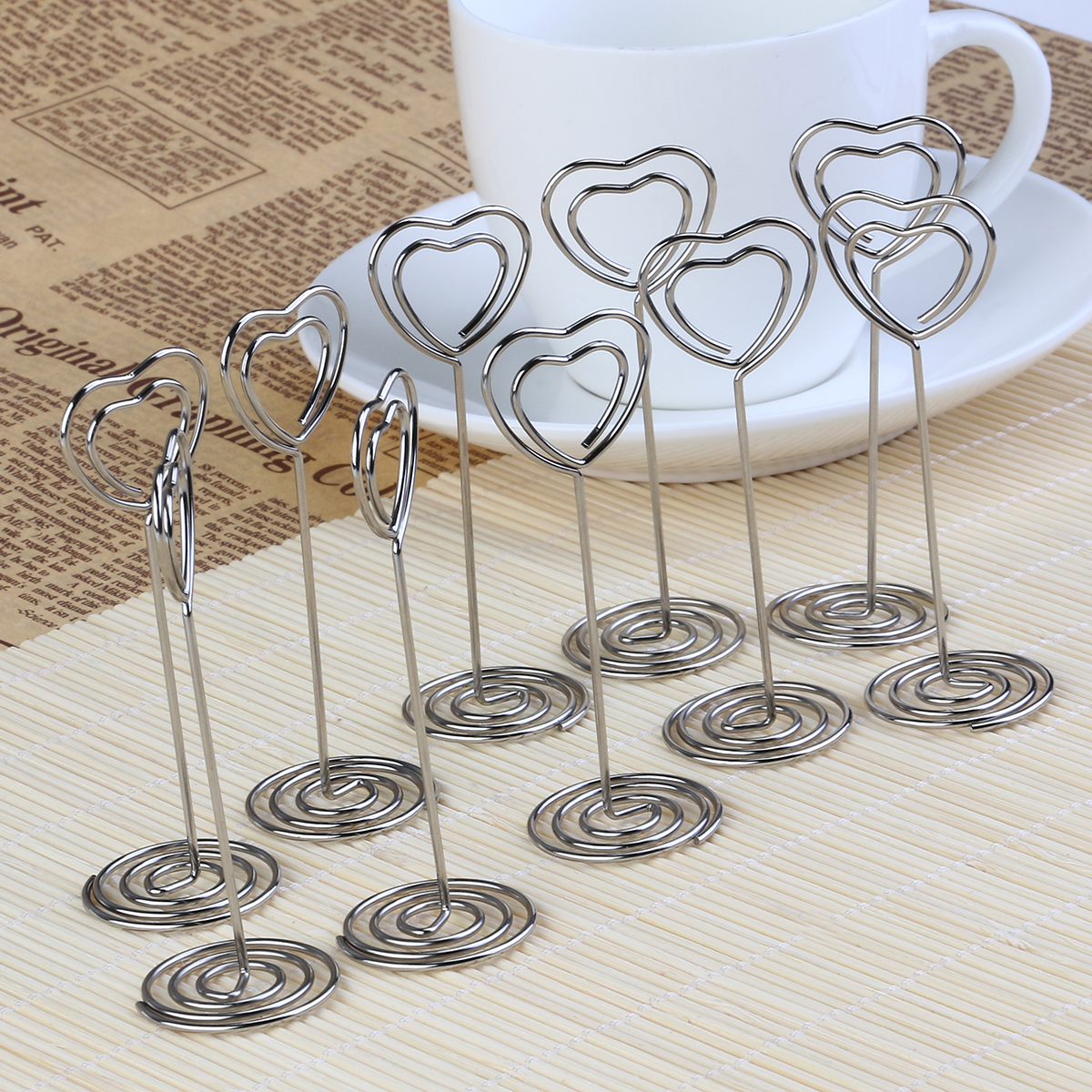 PIXNOR 10pcs Place Card Holder Heart Shape Wedding Favor Party Place Name Number Card Holder Wedding Party Favor Table Decor(China (Mainland))