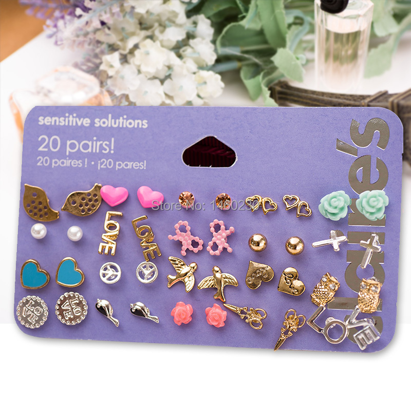 2015 Jewelry Claire fashion accessories stud earring pack set 20 pairs birdlcecream stars cross flower love heart gift for women(China (Mainland))