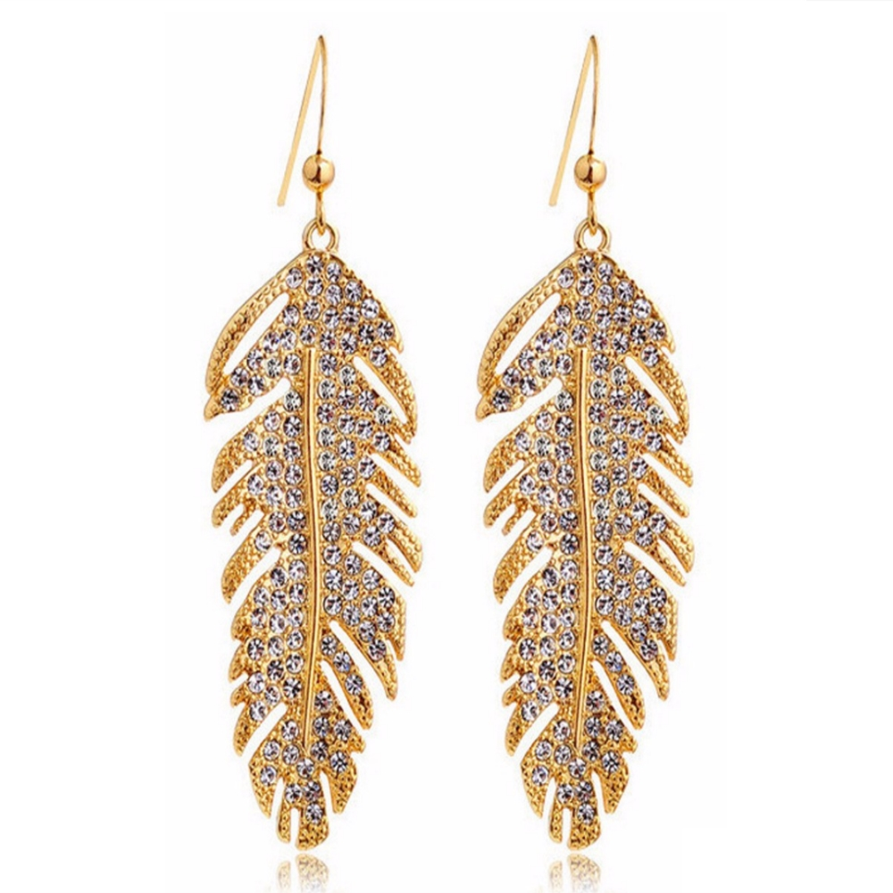Fashion Jewelry Long Feather Earrings For Women Luxury Gold Plated Statement Bohemian Vintage Dangle Earrings For Women ER0012(China (Mainland))