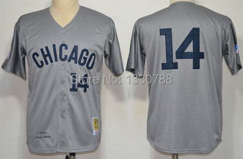 Chicago Cubs Throwback Jerseys #14 Ernie Banks Jersey 1969 Gray Road 100% Stitched Cheap 2015 New Mens Cubs Shirts on Sale(China (Mainland))