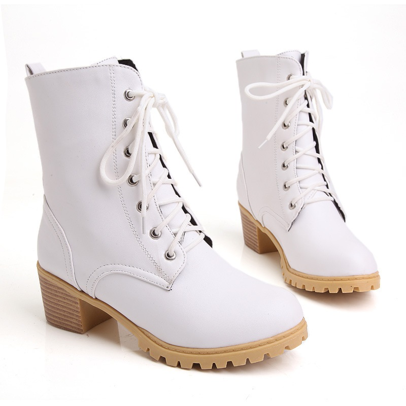 Hot! 2015 Size 34~43 White Lace-UP High Heels Women Boots Ankle Ladies Shoes Woman Bottes Femme Chaussure Botas Mujer Femininas<br><br>Aliexpress