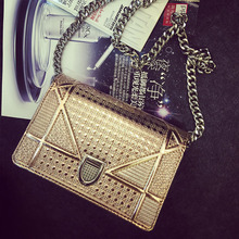 Hot 2016 Europe Fashion Quilted Chain Bag Hologram Mini Messenger Bag High Quality Channelled Bag Neverfull Sac A Main Femme