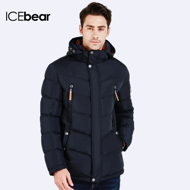 ICEbear 2016 Куртка зимняя мужская Пуховик в спортивном стиле отлично подходит для спорта Карман на рукаве для телефона 16MD930