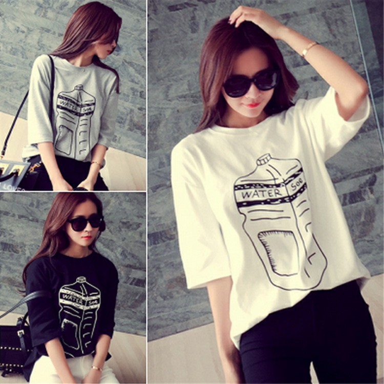 Europe and America 2015 new spring korea long section bottle printing map all-match loose short sleeved T-shirt DX236(China (Mainland))