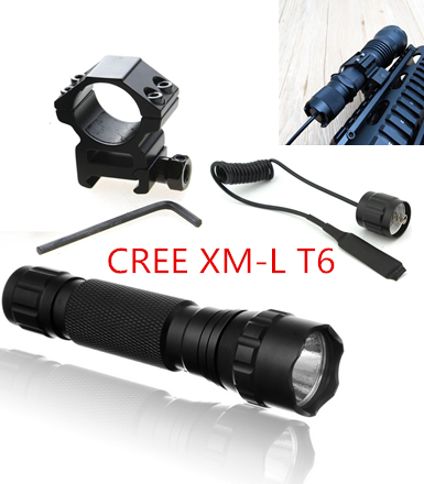Tactical Flashlight 2000 lumens T6 501B Hunting Rifle Torch Shotgun lighting Shot Gun Mount+Tactical mount+Remote switch(China (Mainland))