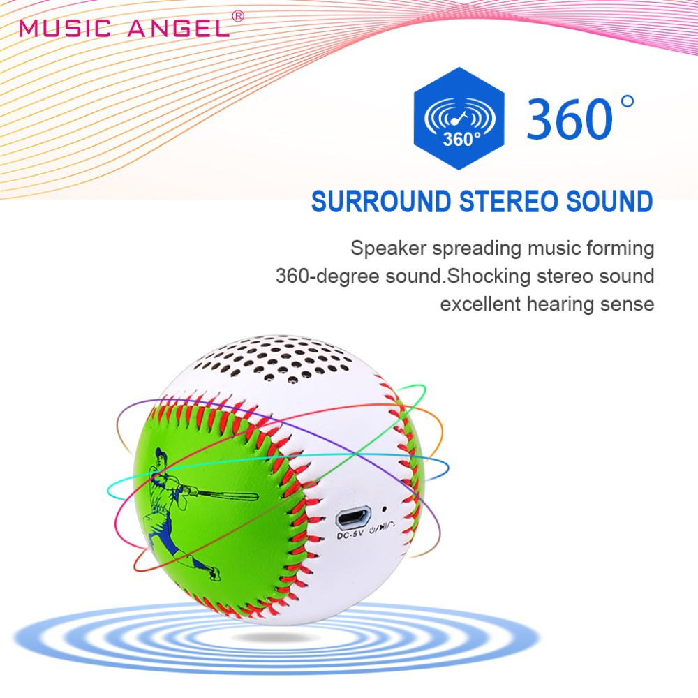 Bluetooth Speaker Baseball 1:1 Size Music Angel 12h Playtime Hand-free Call Mini Outdoor Speakers Handsewn PU Leather Appearance(China (Mainland))
