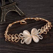 New Promotion Amazing 1pc New Fashion Flower Heart Shape 18K Gold Filled Crystal Fantastic Opal Woman's Bracelet(China (Mainland))