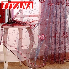 Modern Rustic Butterfly Purple Embroidered Curtain Screening Finished Product Tulle Curtain For Living Room Red Tulle wp344#30(China (Mainland))
