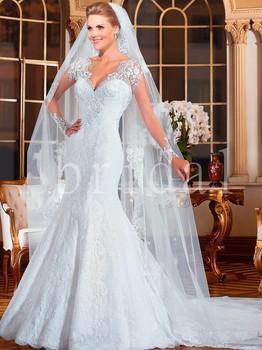 Vestido де noiva 2015 свадебное платье с длинным рукавом русалка свадебные платья 2015 Vestido де casamento романтический одеяние де свадебная
