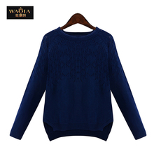 2016 New Autumn Winter Long Sleeve O-neck Cotton Sweaters Knit Pullovers Base Tops Blusas 3 Colors Plus Size XL-5XL(China (Mainland))
