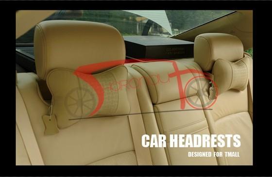 Car headrest car pillow leather headrest neck pillow car cushion auto headrest pillow Beige  high quality free shipping