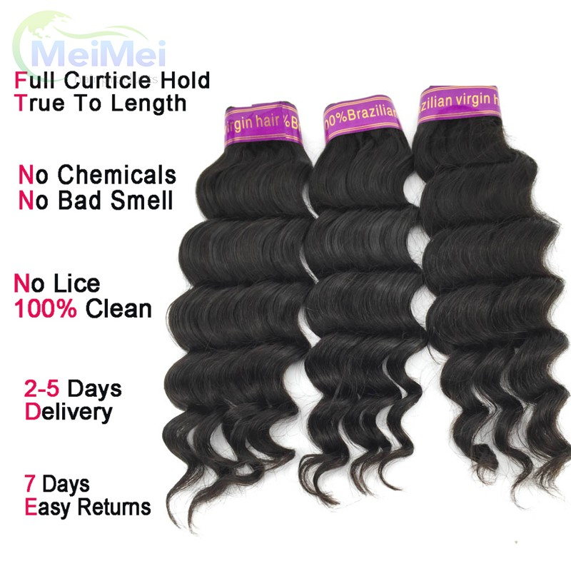 7A Raw Virgin Brazilian Human Hair Weave Loose Deep 16 Inch 3 Pcs Brazilian Unprocessed Loose Deep Wave 1B Remy Hair Bundles